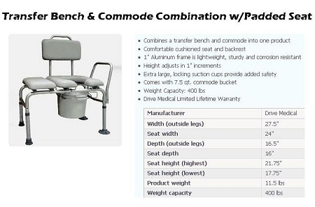 Prime K D Combination Padded Transfer Bench Commode Ibusinesslaw Wood Chair Design Ideas Ibusinesslaworg